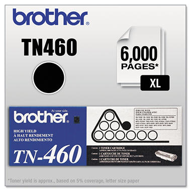 Brother TN460 High-Yield Toner Cartridge, Black (6000 Page Yield)