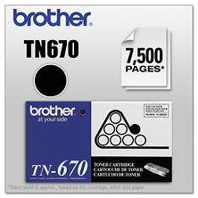 Brother TN670 High-Yield Toner Cartridge, Black (7,500 Yield)