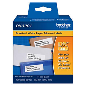 Brother P-Touch - DK1201 Labels, Address, White - 400 Labels