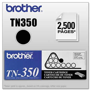 Brother TN350 Toner Cartridge, Black (2,500 Yield)