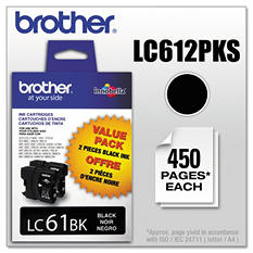 Brother LC61 Innobella Ink Cartridge, Black (2 pk., 450 Page Yield)