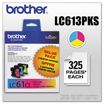 Brother - LC613PKS (LC-61) Innobella Ink, 325 Page Yield, 3/Pack - Cyan/Magenta/Yellow