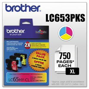 Brother - LC653PKS (LC-65) Innobella High-Yield Ink, 900 Page Yield - Cyan/Magenta/Yellow