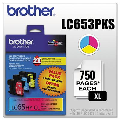 Brother - LC653PKS (LC-65) Innobella High-Yield Ink, 900 Page Yield - Cyan/Magenta/Yellow