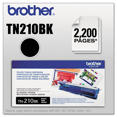 Brother TN210 Toner Cartridge, Select Color  TN210BK