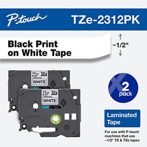 Brother P-Touch - TZe Standard Adhesive Laminated Labeling Tapes, 1/2w, Black on White - 2 ct.