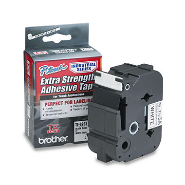 Brother P-Touch - TZ Extra-Strength Adhesive Laminated Labeling Tape, 1-1/2w -  Black on White