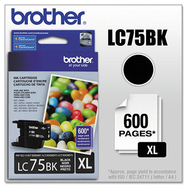 Brother LC75 Innobella High Yield Ink Cartridge, Black (600 Page Yield)