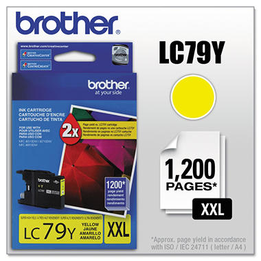Brother LC79Y Super High-Yield Ink - Yellow - 1,200 Page Yield