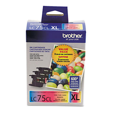 Brother Innobella LC75 Color Ink Cartridges - Cyan/Magenta/Yellow - 3 pk.