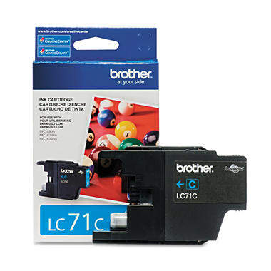 Brother LC71C (LC-71C) Ink - Cyan - 300 Page Yield