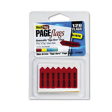 "Redi-Tag - Mini Arrow Page Flags - ""Sign Here"" - Blue/Mint/Red/Yellow - 126 Flags/Pack"