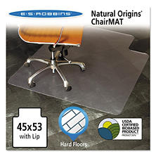 "ES Robbins Natural Origins Chair Mat With Lip For Hard Floors - 53"" x 45"" - Clear"