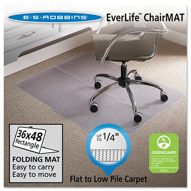 ES Robbins - Foldable Rectangular Chairmat, Low Pile - 36 x 48""