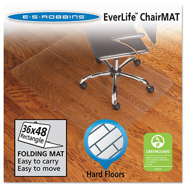 ES Robbins - Foldable Rectangular Chairmat, Hard Floor - 36 x 48""