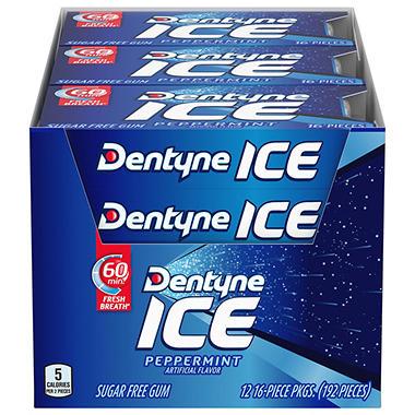 Dentyne Ice Peppermint Sugar Free Gum - 16 ct. - 12 pk.