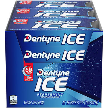 Dentyne Ice Peppermint Sugar Free Gum - 16 ct. - 12 pk.
