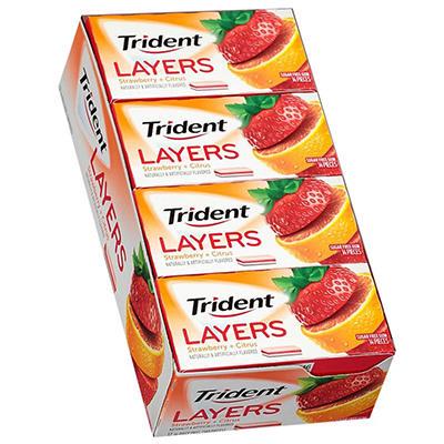 Trident Layers Strawberry + Citrus Sugar Free Gum - 14 ct. - 10 pk.