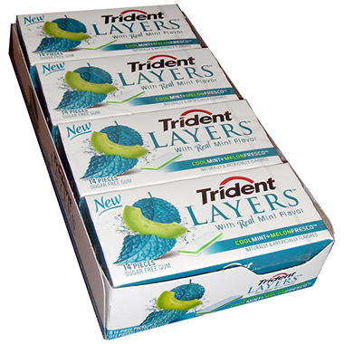 Trident Layers? Cool Mint + Melon Fresco? Sugar Free Gum Club Pack - 8/14 piece pks.