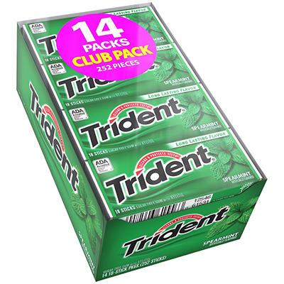 Trident Spearmint Sugar Free Gum - 18 ct. - 14 pk.