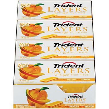 Trident Layers® Orchard Peach + Ripe Mango Sugar Free Gum - 14 pc. - 8 ct.