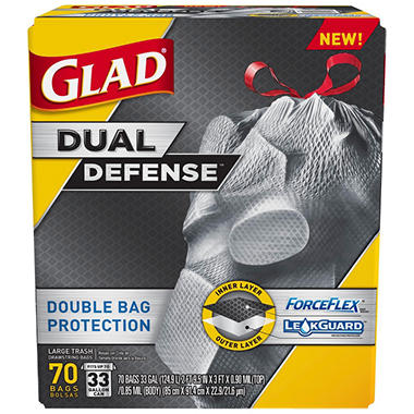 Glad ForceFlex Dual Defense Large Drawstring Trash Bags (33 gal., 70 ct.)