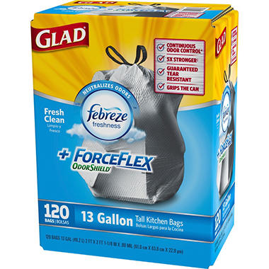 Glad ForceFlex OdorShield Tall Kitchen Drawstring Trash Bags, Fresh Clean (13 gal., 120 ct.)