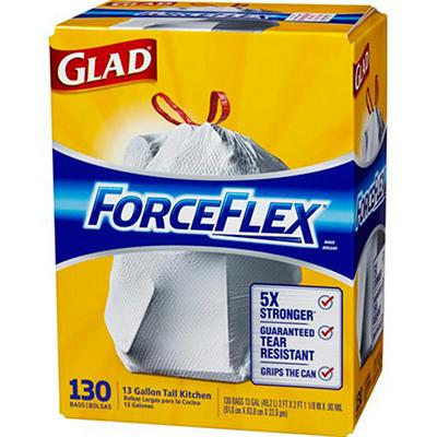 Glad 13 gal. ForceFlex Tall Kitchen Drawstring Trash Bags (130 ct.)