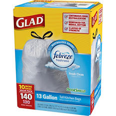 Glad OdorShield Tall Kitchen Drawstring Trash Bags, Fresh Clean scent, 13 Gallon, 140 ct.