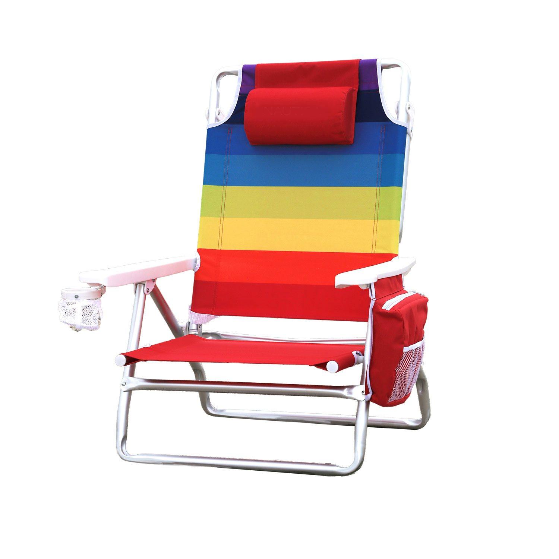 Nautica Rainbow Beach Chair w Cooler 300lbs 5Position recline Lightweight NEW