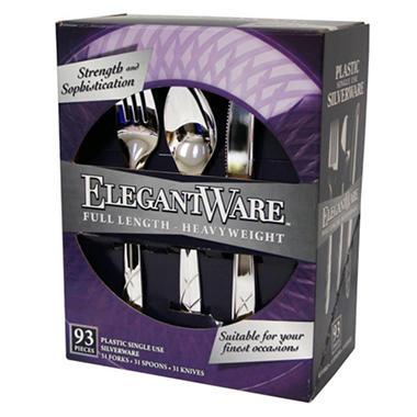 ElegantWare Plastic Silverware - 93 ct.