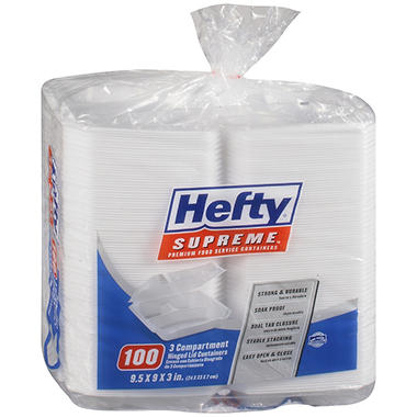 "Hefty Hinged Lid Containers - 9"" x 9"" - 100 ct."