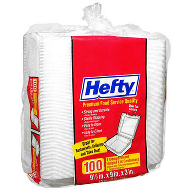 Hefty® Hinged Lid Styrofoam Containers-100 ct.