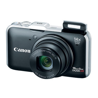 Canon SX230 12.1MP Digital Camera - Black