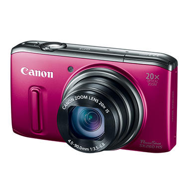 Canon SX260 12.1MP Digital Camera with 20x Optical Zoom - Red