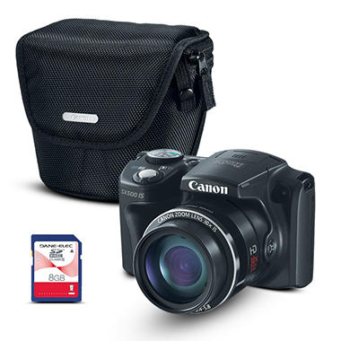 Canon SX500 16MP Digital Camera with 30x Optical Zoom and FREE Camera Case and 8GB Card