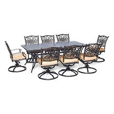 """Traditions 9-Piece Dining Set with Eight Swivel Dining Chairs and Large 84"""" x 42"""" Dining Table"""
