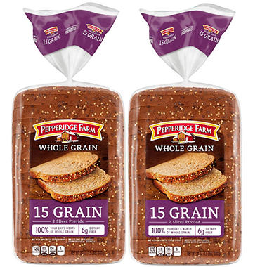 Pepperidge Farm Whole Grain 15 Grain Bread - 24 oz. - Sam's Club