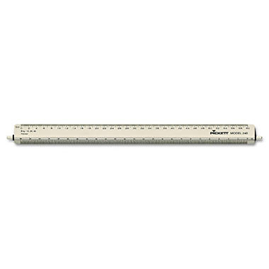 "Chartpak Adjustable Triangular Scale Aluminum Engineers Ruler, 12"", Silver"