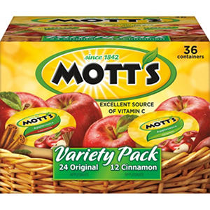 Mott's Variety Pack Apple Sauce - 36 cups