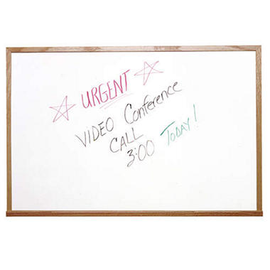 "Ghent 24"" x 36"" Melamine Whiteboard, White with Wood Frame"