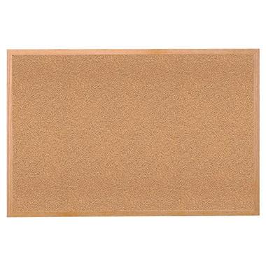 Wood Frame Cork Bulletin Board - 3' x 4'