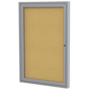 "Ghent 1-Door Satin Aluminum Frame Enclosed Bulletin Board, 36"" x 24"", Natural Cork"