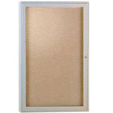 Ghent 1-Door Satin Aluminum Frame Enclosed Vinyl Bulletin Board, 36