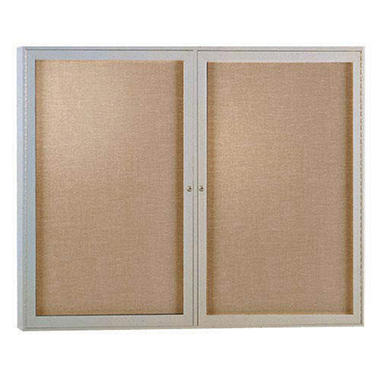 Ghent  2-Door Satin Aluminum Frame Enclosed Vinyl Bulletin Board, 36