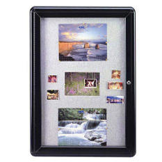 "Ghent 1-Door Ovation Gray Fabric Bulletin Board, 34"" x 24"", Black Frame"
