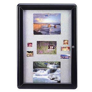 "Ghent 1-Door Ovation Gray Fabric Bulletin Board, 34"" x 24"", Black Frame"