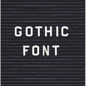 """Ghent 3/4"""" Gothic Font Letters, Numbers, & Symbols, White"""