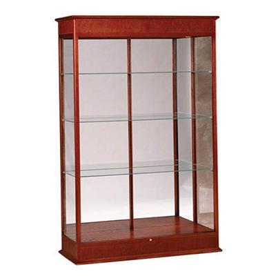 Varsity Display Case w/ Mirror Back - Cherry Oak