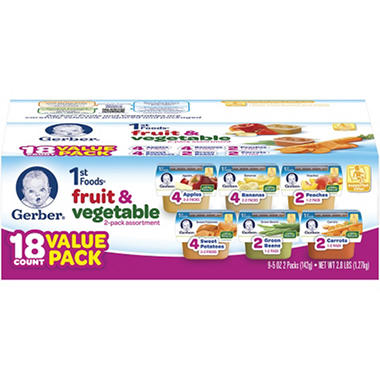 D - Gerber 1st Foods Assorted - 18 pk. - 2.5 oz.